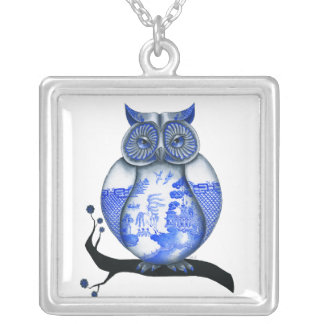 Blue Willow Owl Square Pendant Necklace