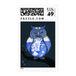 Blue Willow Owl Stamp