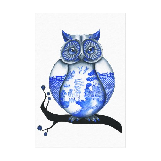 Blue Willow Owl Stretched Canvas Prints