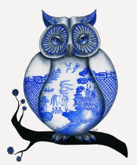 Blue Willow Owl Tee Shirt