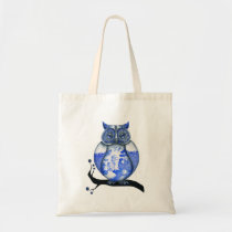 Blue Willow Owl Tote Bag