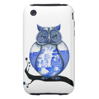 Blue Willow Owl Tough iPhone 3 Cover