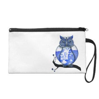 Blue Willow Owl White Wristlet