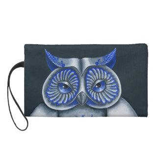 Blue Willow Owl Wristlet