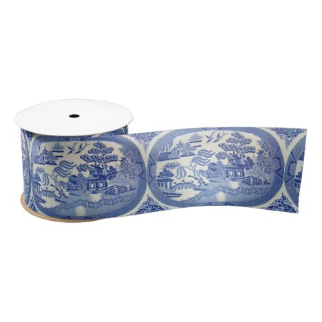"Blue Willow Satin 3"" Ribbon PERFECT for any Gift"