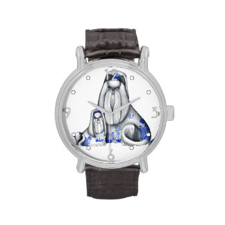 Blue Willow Shih Tzus Wrist Watches