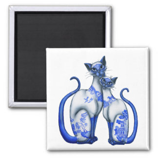 Blue Willow Siamese Cats 2 Inch Square Magnet