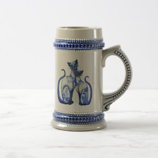 Blue Willow Siamese Cats Beer Stein