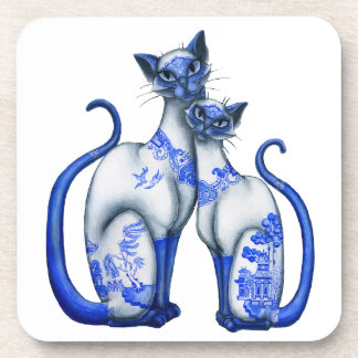 Blue Willow Siamese Cats Beverage Coaster