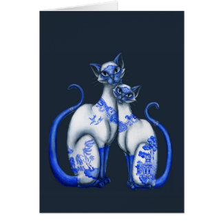 Blue Willow Siamese Cats Card