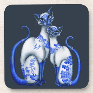Blue Willow Siamese Cats Coaster
