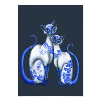 Blue Willow Siamese Cats Custom Announcements