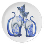 Blue Willow Siamese Cats Dinner Plate