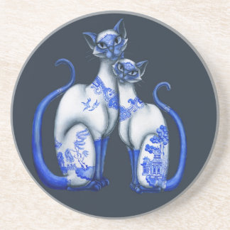 Blue Willow Siamese Cats Drink Coaster