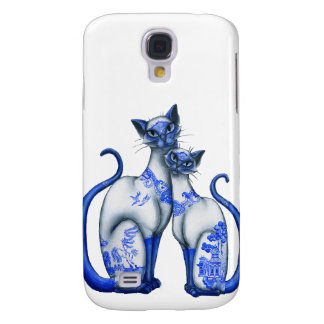 Blue Willow Siamese Cats Galaxy S4 Case
