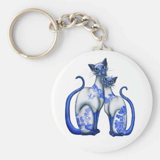 Blue Willow Siamese Cats Keychain