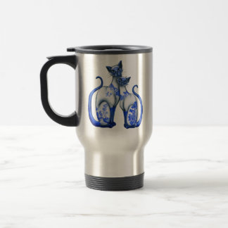 Blue Willow Siamese Cats 15 Oz Stainless Steel Travel Mug