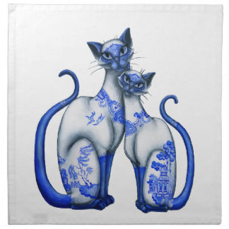 Blue Willow Siamese Cats Napkins