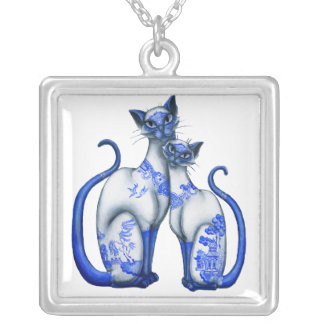 Blue Willow Siamese Cats Personalized Necklace