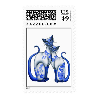 Blue Willow Siamese Cats Postage Stamp