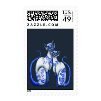 Blue Willow Siamese Cats Postage Stamps