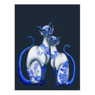 Blue Willow Siamese Cats Postcard