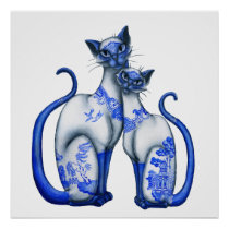 Blue Willow Siamese Cats Poster