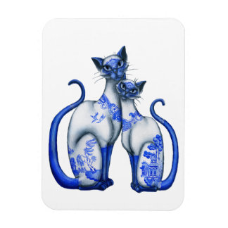 Blue Willow Siamese Cats Rectangular Photo Magnet