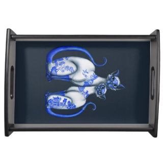 Blue Willow Siamese Cats Serving Tray