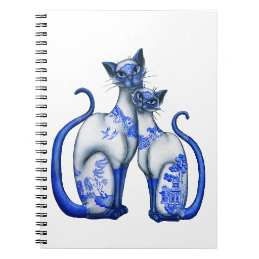 Blue Willow Siamese Cats Spiral Notebook