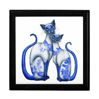 Blue Willow Siamese Cats Trinket Box