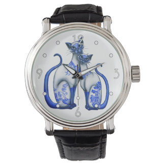 'Blue Willow Siamese Cats' Watch
