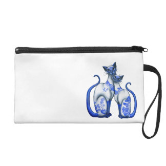 Blue Willow Siamese Cats Wristlet