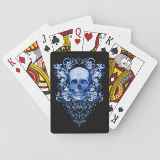 Blue Willow Skull playing cards