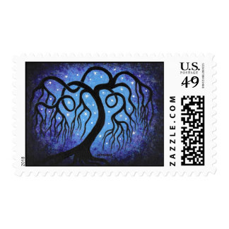 Blue willow, stars postage stamp