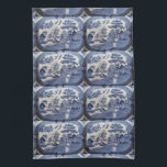 """Blue Willow Tea Towel - let grandma in the Kitchen<br><div class=""""desc"""">Blue Willow China,  the most popular pattern of all from 1850 on -- think of  your grandmother&#39;s kitchen,  and her mother&#39;s all with that classic blue around.  Now hang this on your stove handles,  or the Fridge handles... </div>"""
