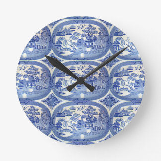 Blue Willow Tim - Perfect Accent for Kitchens Round Wall Clock
