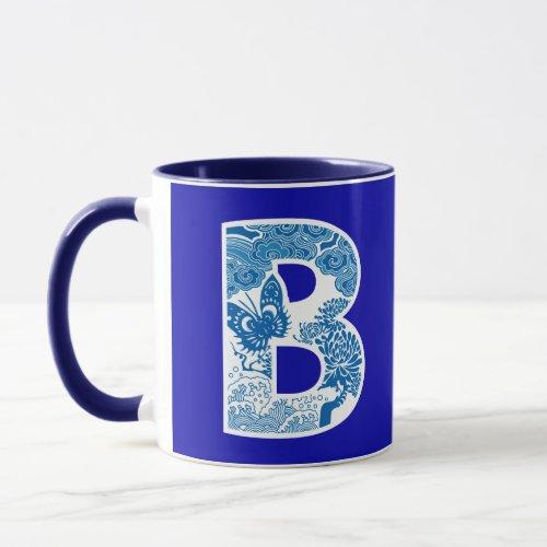 Blue Willow Waves Nature Initial Monogrammed Mug