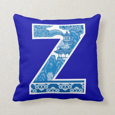 Blue Willow Waves Nature Initial Monogrammed Throw Pillow