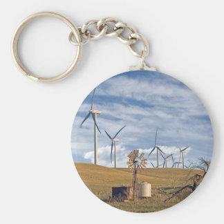 Blue Wind Keytag Basic Round Button Keychain