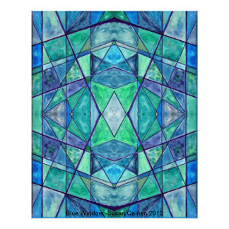 Blue Window Abstract Poster