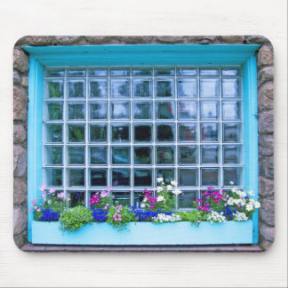 Blue Window Box With Flowers Photograph Mouse Pad