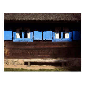 Blue Window Shutters - Postcard