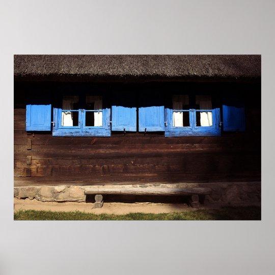 Blue Window Shutters - Poster