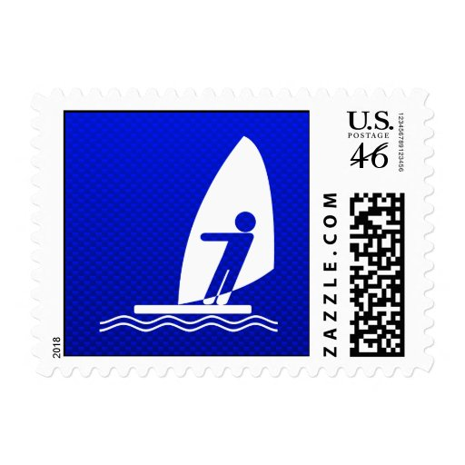 Blue Windsurfing Stamps
