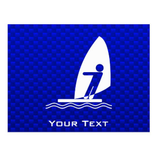 Blue Windsurfing Postcard