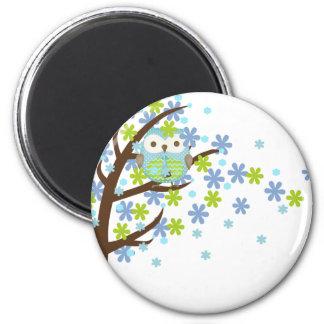 Blue Windy Tree Owl 2 Inch Round Magnet