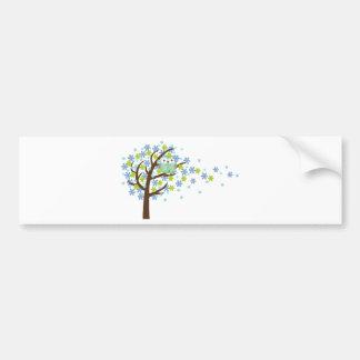 Blue Windy Tree Owl Bumper Sticker