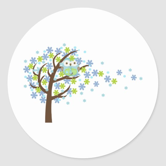 Blue Windy Tree Owl Classic Round Sticker