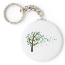 Blue Windy Tree Owl Keychain